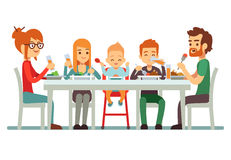 Happy big family eating dinner together vector illustration Royalty Free Stock Photography