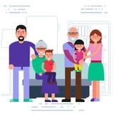 Happy big family - parents, grandparents, grandchildren portrait Royalty Free Stock Photo