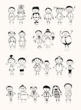 Happy Big Family Smiling Together, Drawing Sketch Stock Images