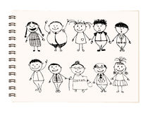Happy big family smiling together, drawing sketch Royalty Free Stock Image