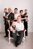 Happy big family in studio stock image