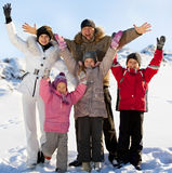 Happy big family in the winter Stock Images