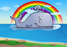 Happy big whale. Cartoon illustration of a happy big whale on sea background Stock Photos