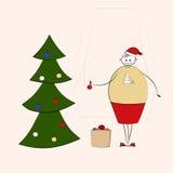 Happy big woman decorating Christmas tree Royalty Free Stock Image
