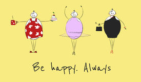 Happy big woman in different situations Royalty Free Stock Photography