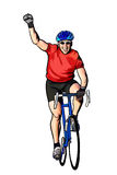 Happy Bike Racer. An enthusiastic biker celebrating a win Stock Photo