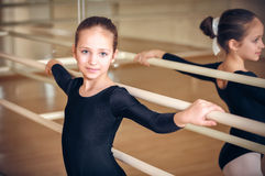 Happy biracial child dancer Stock Photos