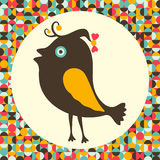 Happy bird with colorful retro background. Royalty Free Stock Images