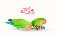 Happy Bird day! Fischer`s lovebirds pair of parrots. And hand written inscriptions Stock Photo