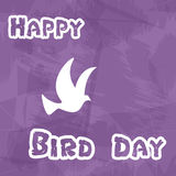 Happy bird day with grungy background and dove Stock Image