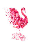Happy Bird day! Vector card. Happy Bird day! Hand written inscription and swan of pink rose petals Stock Image