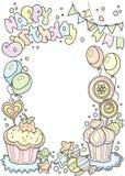 Happy birdhday poscard. Colorful border with cakes, sweets and b. Happy birdhday colorful border with cakes, sweets and balloons. Vector illustration Stock Photos