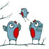 Happy Birds Family Teaching to Fly Stock Photography