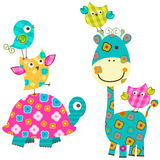 Happy birds and  giraffe. Colorful cute birds and giraffe Royalty Free Stock Photo
