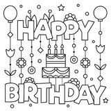 Happy Birhday. Coloring page. Vector illustration. Black and white vector illustration. Happy Birthday Stock Images