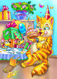cat and mouse happy birhday party Royalty Free Stock Images