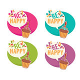 Happy birhday stickers Stock Photo