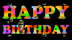 Happy birhtday banner with colorful rainbow headline and floating soap bubbles on black background. Advertising for gift shop.