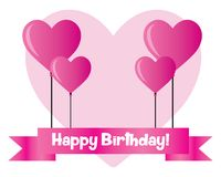 Happy birtday with balloon love. Illustration design Royalty Free Stock Photo