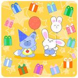 Happy birtday! Cute animals and gifts Stock Photos