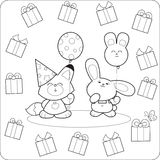 Happy birtday! Cute coloring animals royalty free illustration