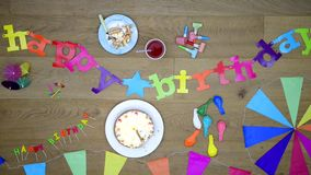 Happy Birtday party background with cake top view stock footage