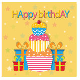 Happy birth day with cake and presents Stock Images