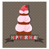 Happy birth day with tall cake Stock Photo