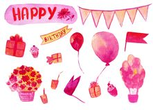 Happy birthaday watercolor hand drawn set in pink color isolated on the white background. Collection of elements for selebration. For used on invatation vector illustration