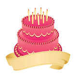 Happy Birthday. Colorful birthday cake and candles on Stock Photo