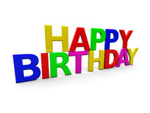 Happy birthday. 3d illustration of 'happy birthday' text over white background Royalty Free Stock Image