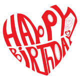 Happy birthday. Red text within the love heart Royalty Free Stock Images