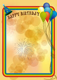Happy birthday. Illustration of card invite of happy birthday, with fireworks and ballons on orange background Stock Image