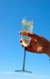Happy Birthday!. A hand of a woman lady with a full champagne glass in front of blue sky holding it high up to congratulate other women ladies and to celebrate Stock Photo
