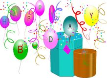 Happy birthday. In 3d with balloons ,gifts,and confetti and streamers on white illustration Stock Images