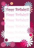 Happy birthday. Illustration birthday card with floral background and place for text Stock Images
