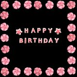 Happy birthday. And roses made with pink icing Royalty Free Stock Images