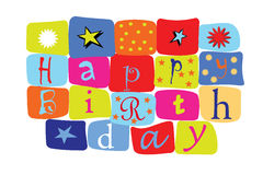 Happy birthday. In blocks and colors Royalty Free Illustration