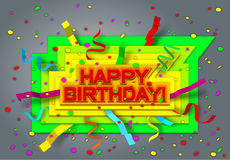 Happy birthday. On colorful words - happy birthday - fall ribbons and confetti Stock Photos