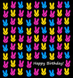 Happy birthday. Colorful bunnies wishing you a happy birthday Stock Photo