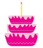 Happy birthday. Colorful birthday cake with single candle (like first birthday Royalty Free Stock Image