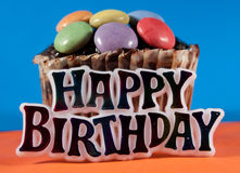 Happy birthday. Birtday cake on colorful background Royalty Free Stock Photo