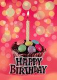 Happy birthday. Birthday cake and a candle on a colorful background Stock Images