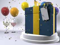 Happy Birthday. Happry Birthday background setting with wine, confetti, present and balloons Royalty Free Stock Photography