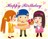 Happy birthday. Vector illustration of  girls birthday Royalty Free Stock Photo
