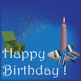 Happy Birthday. Abstract illustration with colorful stars coming out from a green box, a burning candle with a blue bow and the text Happy Birthday written with Stock Photos