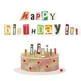Happy birthday. Artistic collage cartoon style postcard - Happy birthday! & cake with burning candles made from cutout magazine fonts, isolated on white Stock Photos