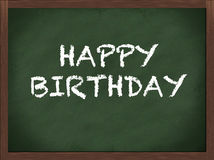 Happy birthday. Chalk letters on a green blackboard Royalty Free Stock Photography