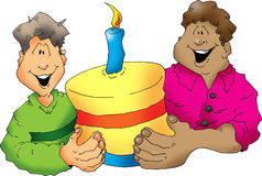Happy birthday. Two happy guys with a birthday cake Royalty Free Stock Image