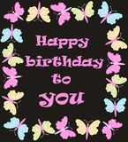 Happy birthday. Card with colorful butterflies Royalty Free Stock Photo